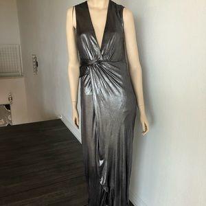 Halston Heritage Silver Women's Medium V-Neck Gown